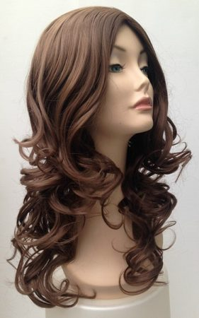 Brown long curly wig Lara