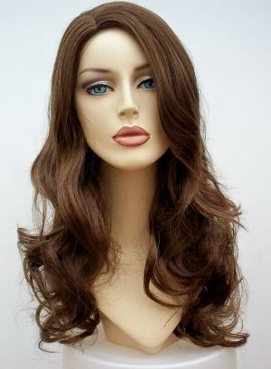 brown curly long wig