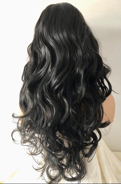 extra long black curly wig Adrianna